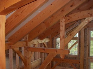 interior wood beams exposed beams craftsman house builders near Sandpoint Idaho Dan Fogarty Great Northern Builder