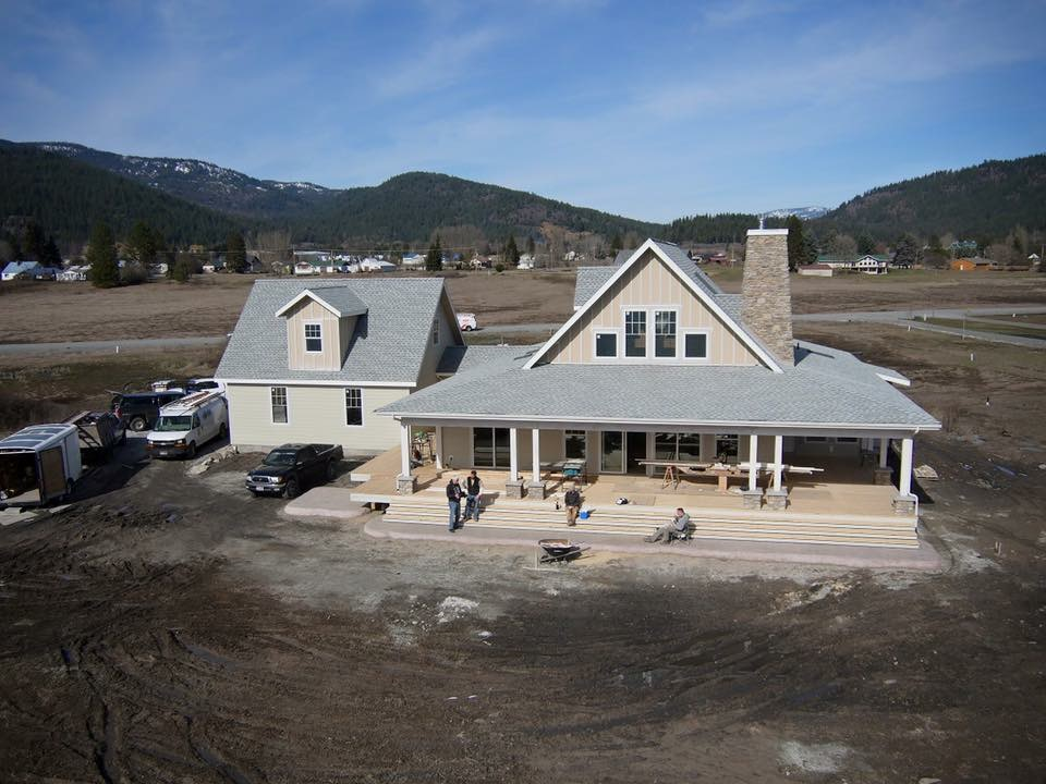 Waterfront Farmhouse - Aerial - Drone - Craftsman House - Dan Fogarty Great Northern Builder Custom homes